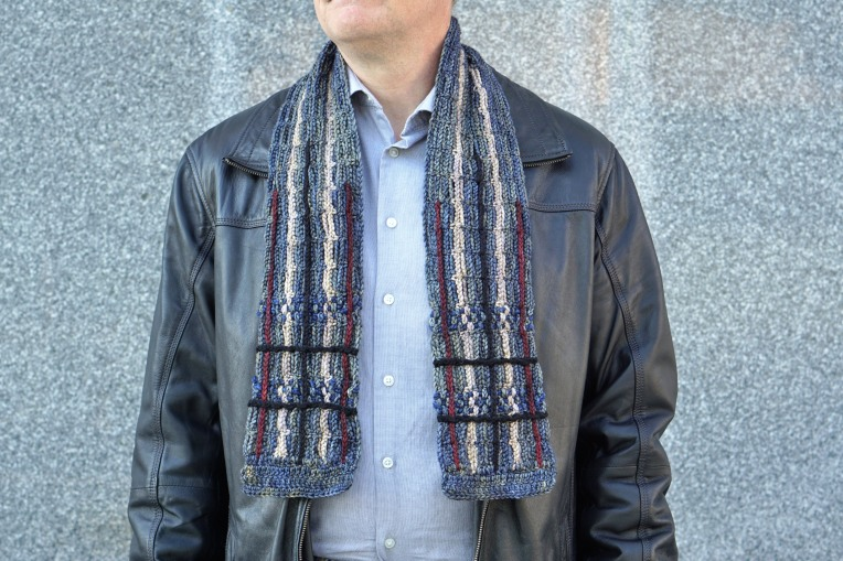 plaid scarf men's gray combo