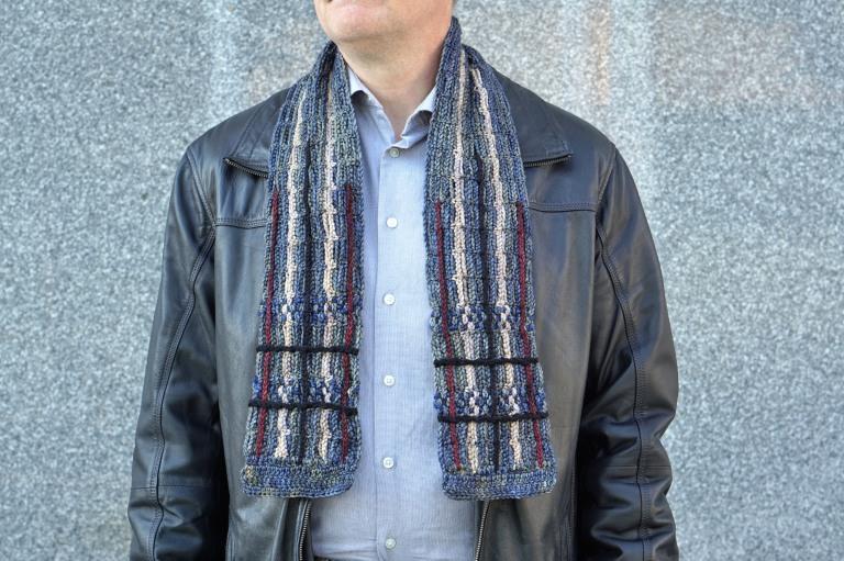 plaid scarf men's gray combo