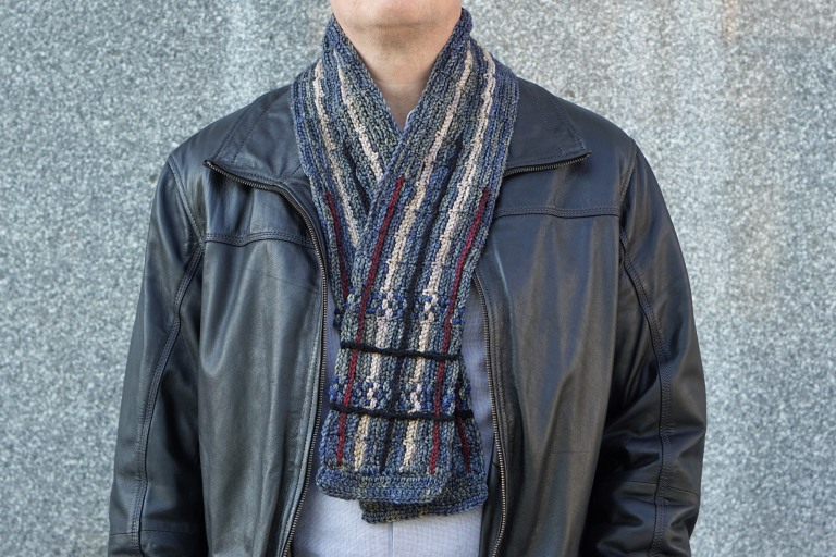 plaid scarf men's gray combo2