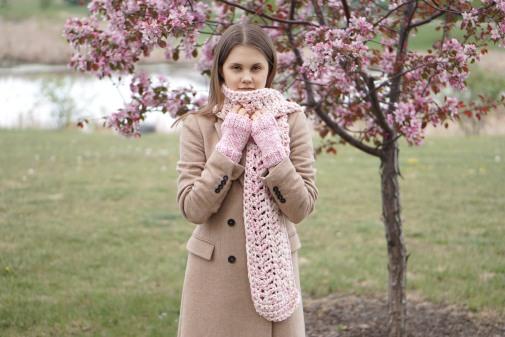 ashley long scarf pink ivory9