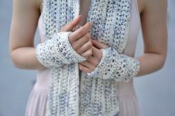 elegant lace long hand warmers ivory purple