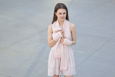 elegant lace long scarf ooak ivory pink1