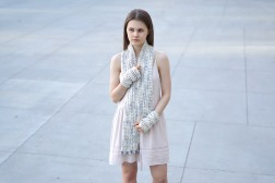 elegant lace long scarf ooak ivory purple2