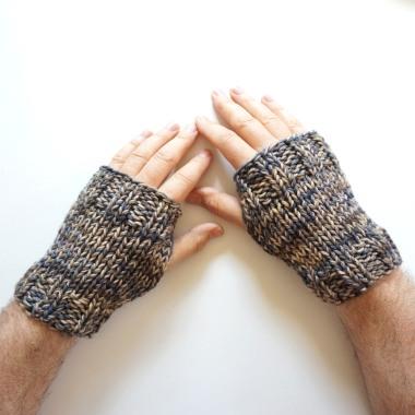 men's hand warmers beige gray
