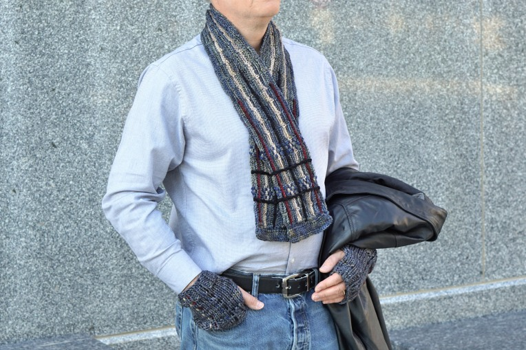 plaid scarf men's gray combo hand warmers3