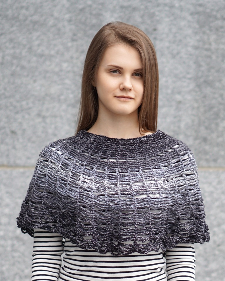 wired lace shawl poncho black to snowfall6