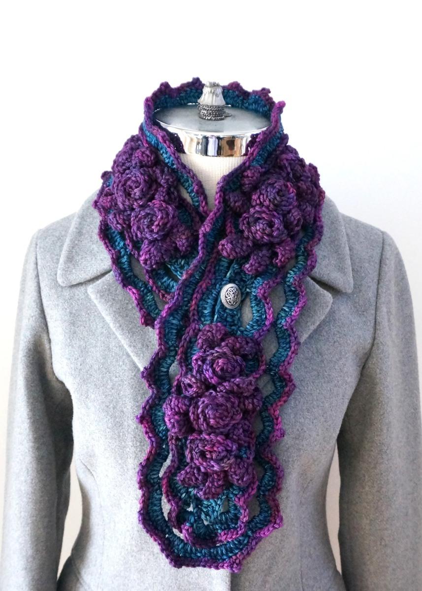 Elegant Rose Scarf Crochet Pattern Valerie Baber Designs