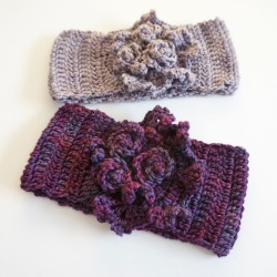 rose ruffle ear warmer purple5