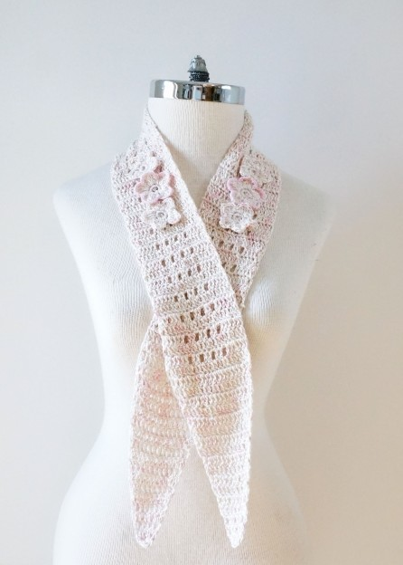 floral blossom longer scarf silk