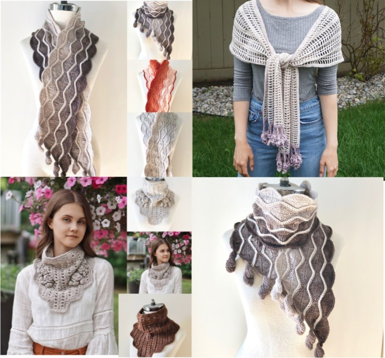 autumn leaves lavender rose cowl scarves combo picture